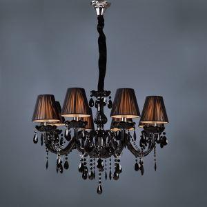 Lustre cristal noir à 8 lumières luxe D 70 * H 45 cm pour salon