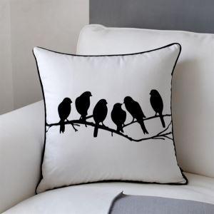 (Entrepôt UE) Housse de coussin / taie d'oreiller oiseaux noir