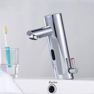 Mitigeur de lavabo laiton chromé avec capteur automatique pour salle de bains