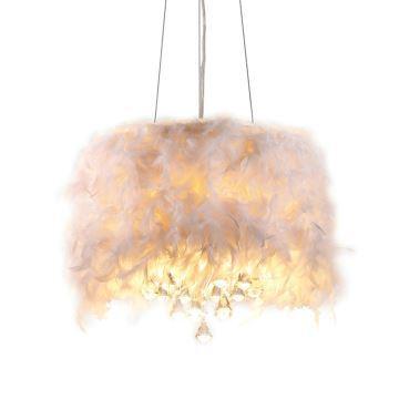 Suspension à 3 Lampes Plume Blanc Goutte En Cristal D40cm Design Luminaire  Intérieur Chambre Bébé Enfant