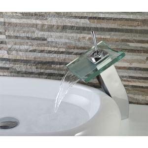 Mitigeur de lavabo avec bec verre cascade H31cm pour salle de bains
