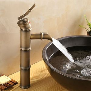 Mitigeur de lavabo vieux laiton bambou H 33 cm antique pour salle de bains
