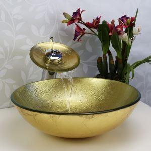 Vasque à poser D42cm en verre trempé avec robinet cascade or rond pour salle de bains