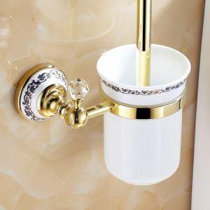 (Entrepôt UE) Salle de bains moderne Laiton Accessoires Ti-PVD Titulaire toilettes Brosse