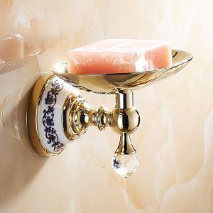 (Entrepôt UE) Salle de bains moderne Titulaire Accessoires Ti-PVD laiton porte-savon