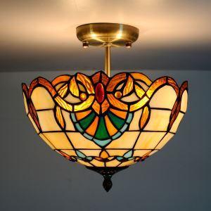 Tiffany lustre à 2 lumières en verre baroque D30cm luminaire pour chambre salle à manger