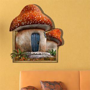 Art mural Papier 3D Champignon Accueil revêtements muraux PVC sticker lavables mur