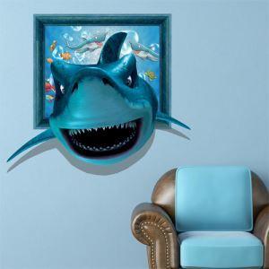 Style d'animation sticker mural Papier 3D à motif de requin revêtements PVC lavables décotatif pour chambre d'enfant salle