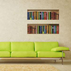 Sticker 3D bibliothèque Étagère à livres PVC lavables décoratif pour chambre salle