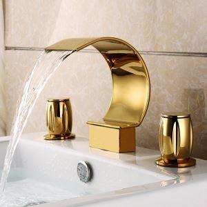 Robinet de lavabo Ti-PVD cascade contemporain 2 poignées 3 trous H 18 cm pour salle de bain