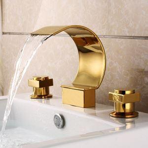 (Entrepôt UE) Contemporain Ti-PVD robinet d'évier Double Poignées Trois Trous d'installation Évier Lavabo cascade salle de bain