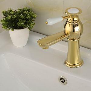 (Entrepôt UE) Moderne Évier Lavabo simple Installation Trou mitigeur robinet d'évier Ti-PVD salle de bain