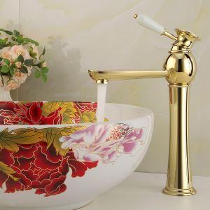 (Entrepôt UE) Robinet d'évier Ti-PVD pour salle de bain Moderne Évier Lavabo simple Trou mitigeur