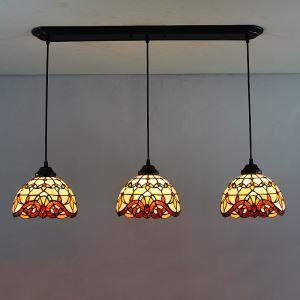 Tiffany Lustre à 3 lampes en verre D65cm vintage intérieure chambre plafond Lumière