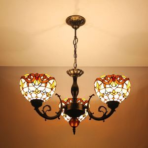Lustre tiffany à 3 lampes vintage pour salon salle à manger