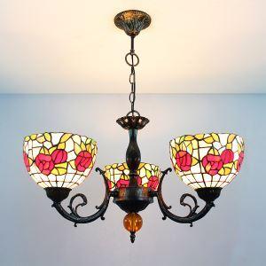 Tiffany Lustre à 3 lampes en verre D60cm vintage intérieure chambre plafond Lumière
