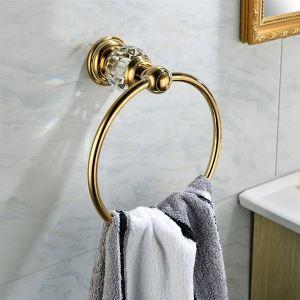 Anneau de serviette laiton cristal rond pour salle de bains