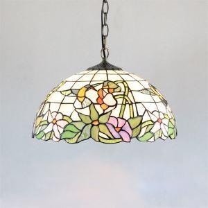 Tiffany suspension à 2 Lampes en verre D40cm luminaire pour salle à manger chambre