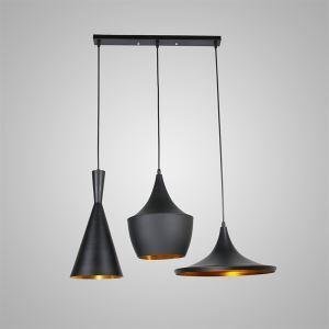 Lustre Plafonnier à 3 lampes Suspensions style industriel en aluminium noir L77cm luminaire cuisine restaurant