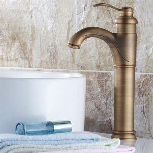 Robinet de lavabo en laiton antique H32cm pour salle de bain style rétro