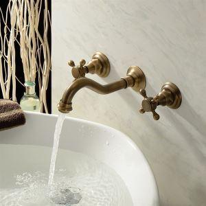 Robinet de lavabo eau froide laiton antique 2 poignées pour salle de bains pas cher