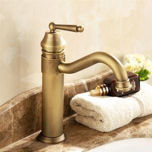 Mitigeur de lavabo laiton antique H29cm pour salle de bains