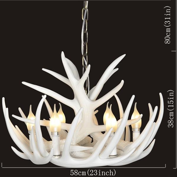 Rustic Cascade Antler en vedette Lustre avec 6 lumières Blanc