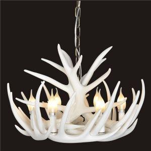 Lustre  cerf en résine avec 6 lumières blanc