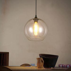 Lustre en verre D 20 cm lumianire pour salle à manger cuisine 1 lampe pas cher