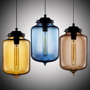 Suspension en verre coloris luminaire design bouteille H29cm pour cuisine chambre salon salle