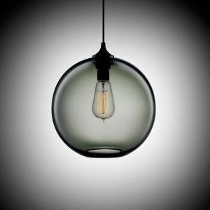 Suspension boule en verre D25cm bulle moderne gris argenté pour chambre restaurant