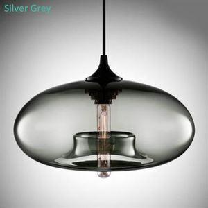 Suspension verre coloré bulle gris argenté D28cm pour salle chambre
