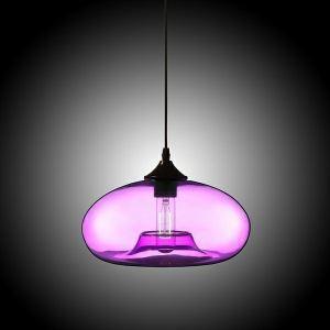 Suspension moderne simple en verre soufflé à la main Lustre luminaire cuisine couleur mauve