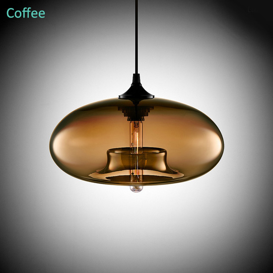 Lustre En Verre Coloris Cafe Lampe Suspendue Suspension Design