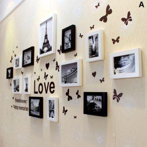 (Entrepôt UE) Moderne simple Cadre de photo mural Collection en Bois - Ensemble de 13 pièces