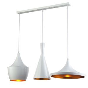 Lustre Plafonnier à 3 lampes Suspensions style industriel en aluminium blanc L77cm luminaire cuisine restaurant