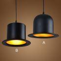 Lustre chapeau aluminium noir 2 modèles pour cuisine salon