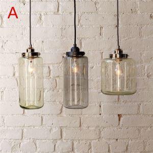 Suspension à 3 lampes 60W E27 en verre pour salle à manger cuisine