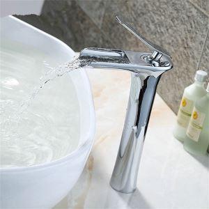 Mitigeur de lavabo laiton chromé H 29 cm cascade pour salle de bains contemporain