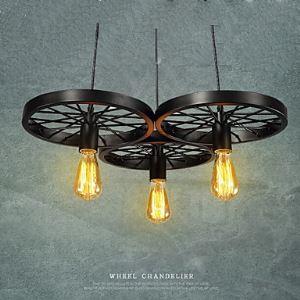 (Entrepôt UE) 220V Loft Lustre Ampoules  Roue Rustique Vintage Rétro  Pays pour Salle  Chambre à manger  Métal+Peinture