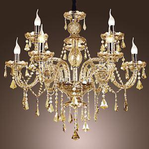 Lustre baroque à 9 lampes D75cm jaune Luxe Cristal lumianire pour salon salle chambre hôtel