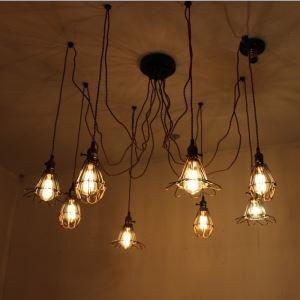 Suspension araignée noir à 8 lumières lampe de plafond pour salle salon
