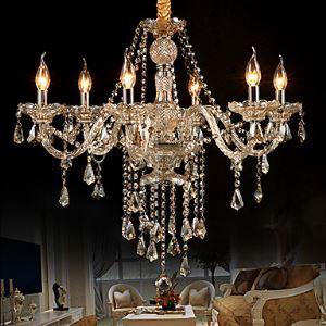 Lustre baroque Cristal baroque jaune LED 6 lumières salon