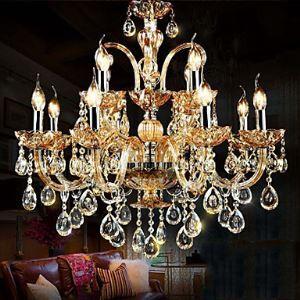 Lustre baroque Cristal abat-jour en verre à 6 lampes pour Salle Chambre