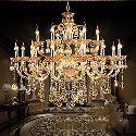 Lustre baroque à 18 lampes luxe cristal H80cm pour salon chambre hôtel