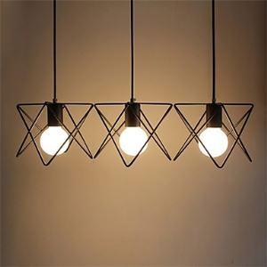 Suspension à 3 lumières LED en métal L50cm lampe de cuisine salle style simple