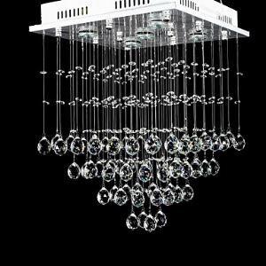 (Entrepôt UE) Luxe Cristal Perlé plafonnier Lampe avec Jaune Chaude  Lumière Source