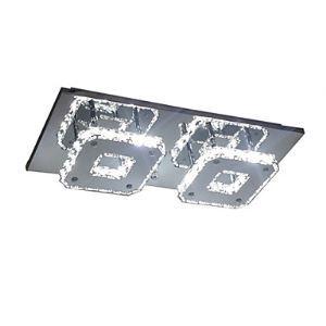 (Entrepôt UE) LED Cristal installation intégrée, 2 Lampes, Moderne Transparent Placage en acier inoxydable