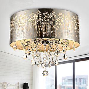 (Entrepôt UE) Plafonnier installation intégrée Lampe Crstal Chromé Couleur creux sculpture Mode Moderne