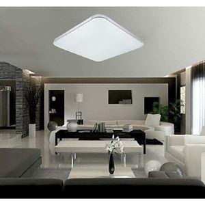 Plafonnier 18W LED en acrilique D58cm carré blanc pour couloir pas cher